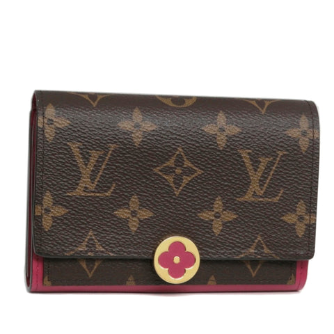 Brown Louis Vuitton Monogram Flore Compact Wallet