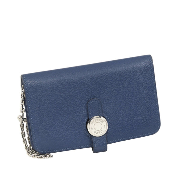 Blue Hermes Dogon Leather Card Holder