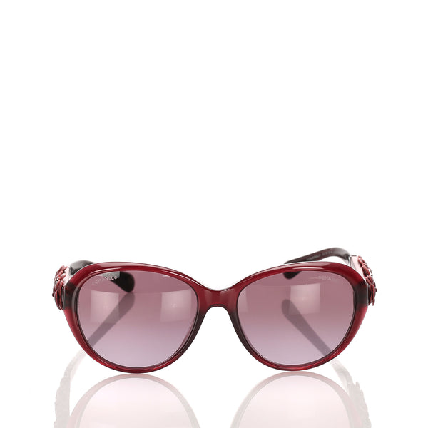 Red Chanel Camellia Round Tinted Sunglasses