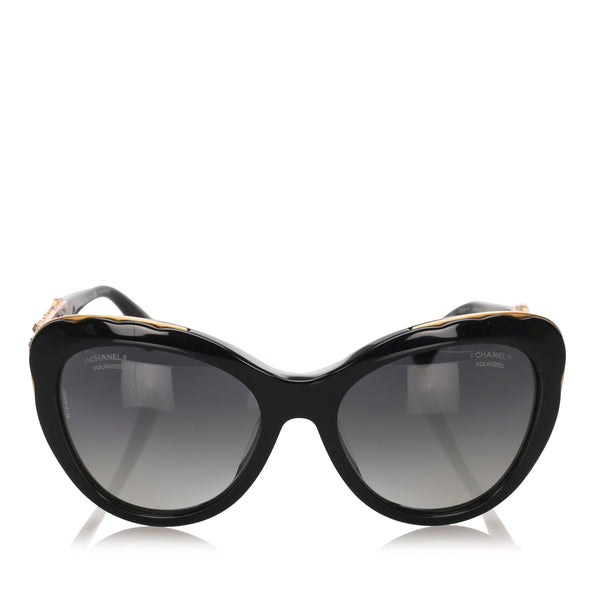 Black Chanel Bijou Cat Eye Tinted Sunglasses