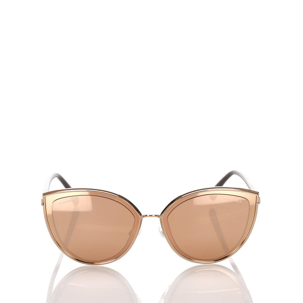 Gold Chanel 18K Cat Eye Mirror Sunglasses