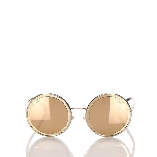 Gold Chanel 18K Round Mirror Sunglasses