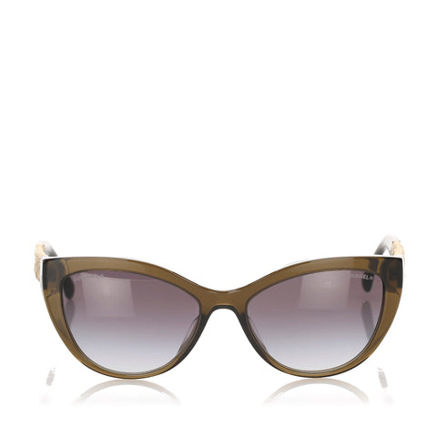 Brown Chanel Cat Eye Tinted Sunglasses