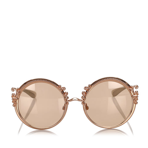 Gold Dolce&Gabbana Round Tinted Sunglasses