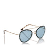 Green Valentino Crystal Embelished Aviator Sunglasses