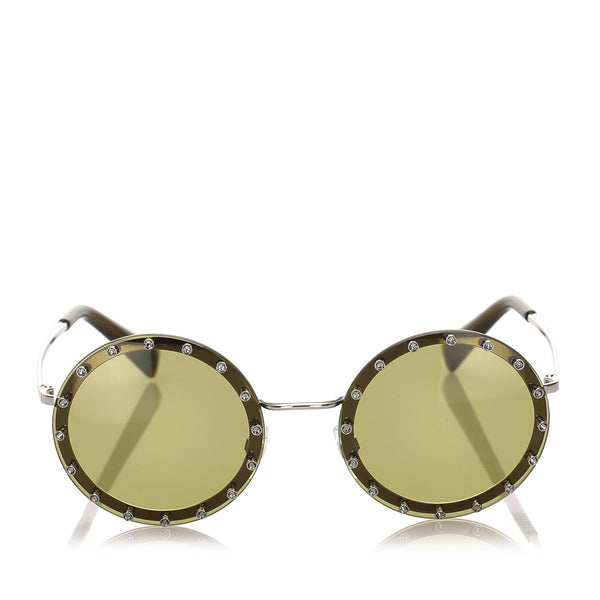 Green Valentino Crystal Embelished Round Tinted Sunglasses