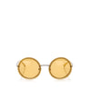 Yellow Chanel Chain Round Tinted Sunglasses