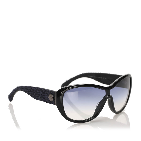 Black Chanel Butterfly Tinted Sunglasses