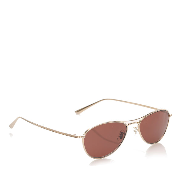 Red Oliver Peoples Aero LA Aviator Tinted Sunglasses
