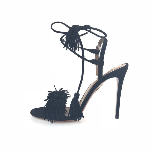 Black Aquazzura Suede Wild Thing Sandal