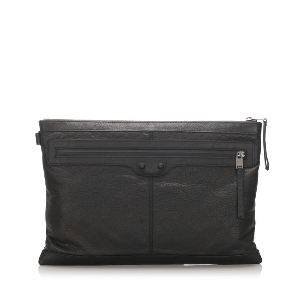 Black Balenciaga Motocross Oversized Clutch Bag