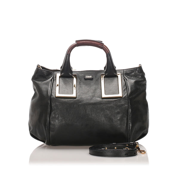Black Chloe Leather Ethel Satchel Bag