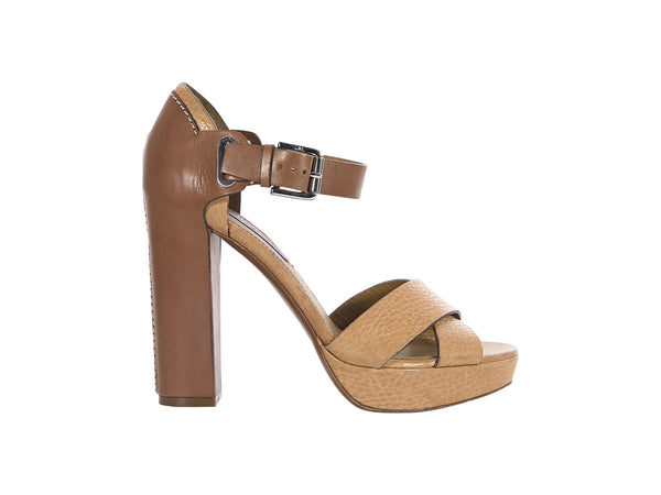 Brown & Tan Ralph Lauren Leather Platform Sandals