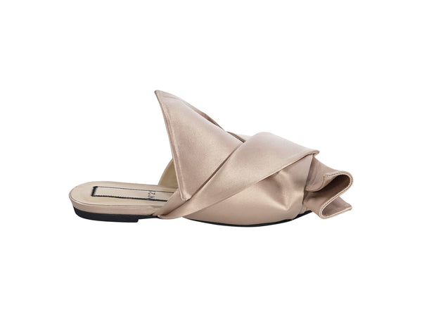 Light Pink No. 21 Satin Bow Flat Slides