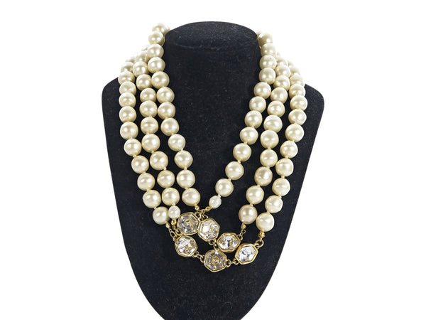 Vintage Chanel Multi-Strand Pearl & Crystal Necklace