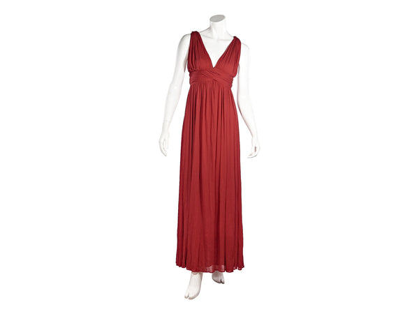 Red Alexander McQueen Pleated Maxi Dress