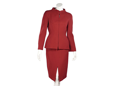 Red Vintage Thierry Mugler Wool Skirt Suit Set