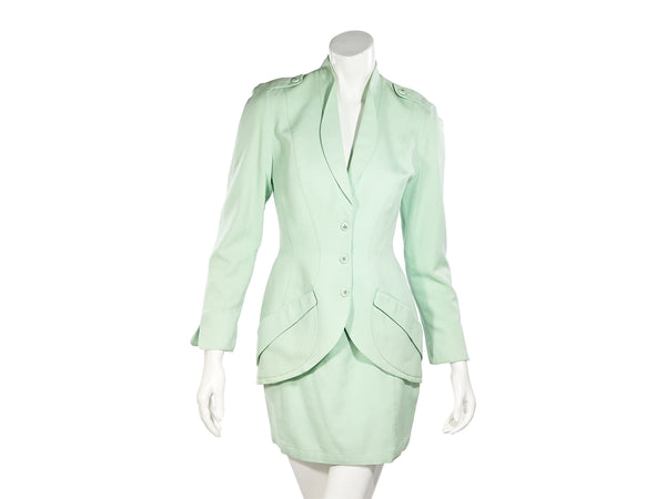 Mint Green Vintage Thierry Mugler Skirt Suit Set