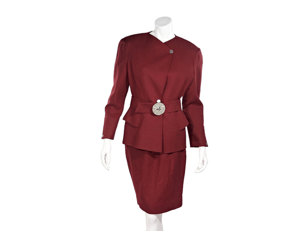 Red Vintage Wool Belted Skirt Suit Set