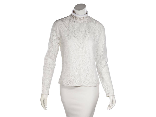 White Chloe Long-Sleeve Lace Blouse