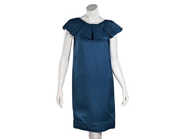 Teal Lanvin SS 2008 Ruffled Shift Dress