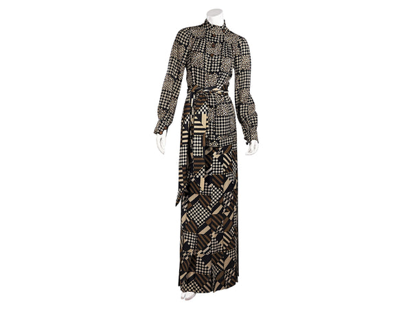 Brown Vintage Emanuel Ungaro Printed Wool Tunic and Skirt Set