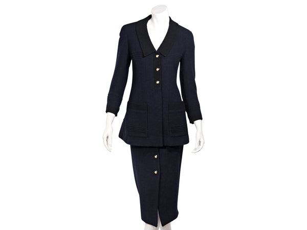Navy Blue Vintage Chanel FW 1993 Boucle Wool Skirt Suit Set