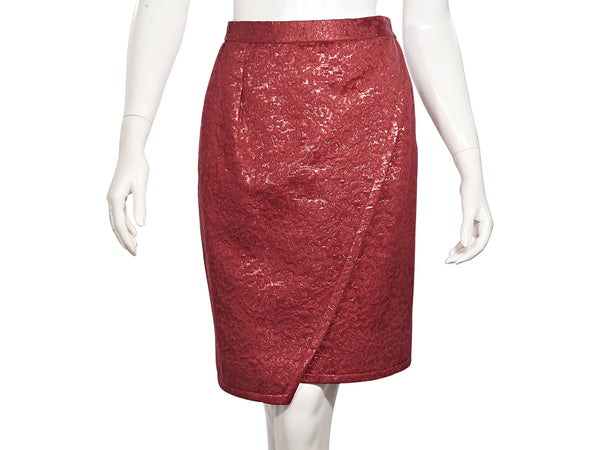Metallic Red Vintage 1970s/1980s Yves Saint Laurent Brocade Skirt