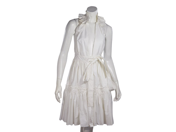 White Yves Saint Laurent Rive Gauche Ruffled Cotton Dress