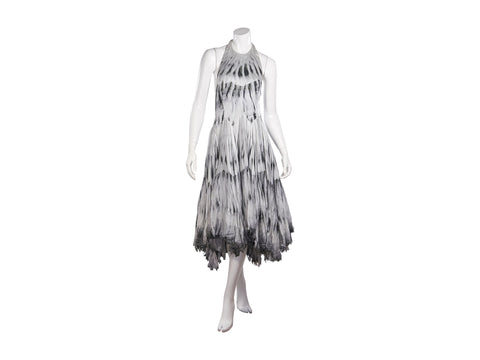 Grey Alexander McQueen Feather-Printed Dress
