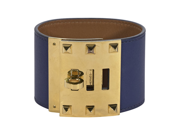 Blue Hermes Leather Extreme Kelly Dog Bracelet