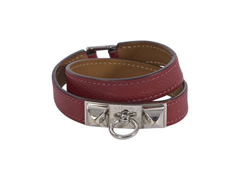 Red Hermes Leather Epsome Rivale Wrap Bracelet