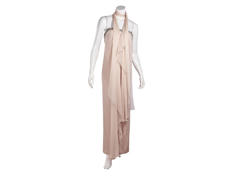 Vintage Pink Azzaro Couture Embellished Silk Gown