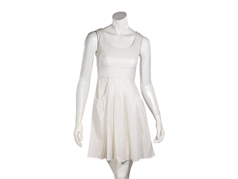 White Fendi Sequined Silk Dress