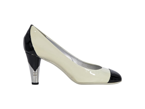 White & Black Chanel Patent Leather Pumps