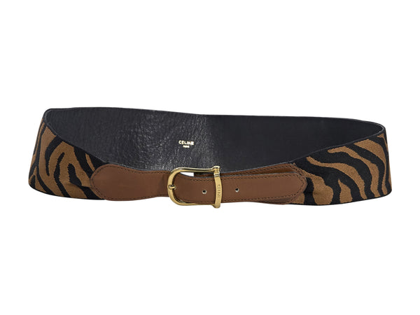 Brown & Black Celine Animal-Print Wide Belt