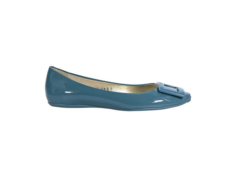 Teal Roger Vivier Patent Leather Flats
