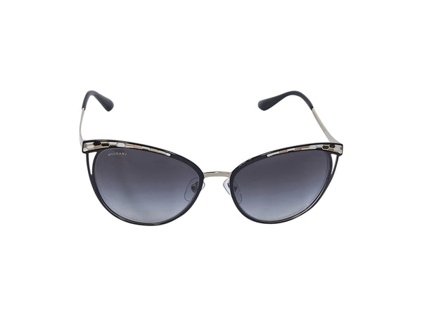 Gold And Black Bulgari Snake-Patterned Cat-Eye Sunglasses