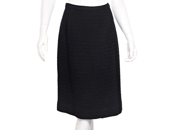 Black Vintage Chanel Creations Tweed Skirt