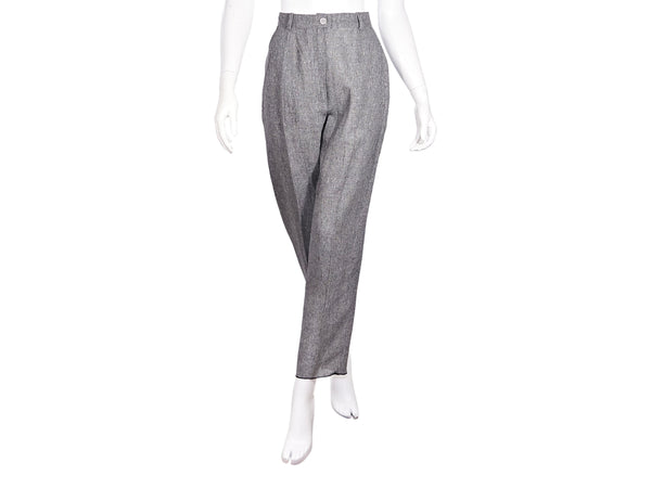 Grey Vintage Chanel Boutique Linen Straight-Leg Pants