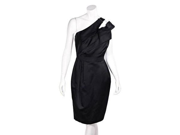 Black J. Mendel Silk-Satin Blend One-Shoulder Dress