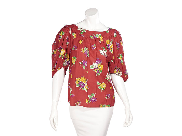 Red Vintage Saint Laurent Rive Gauche Floral-Printed Blouse