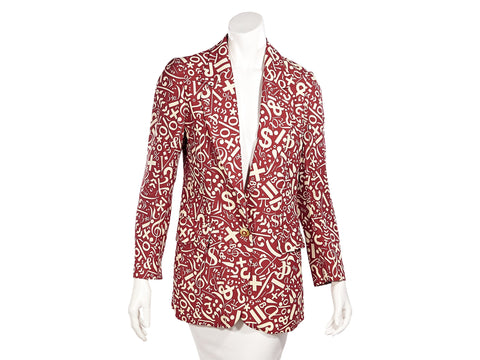 Red And White Vintage Cheap And Chic By Moschino Silk Printed Blazer