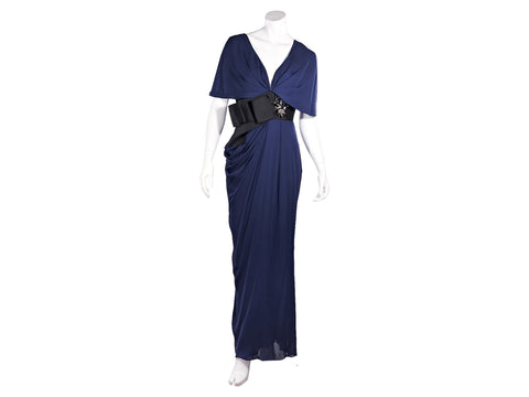 Blue J. Mendel Silk Embellished Maxi Dress