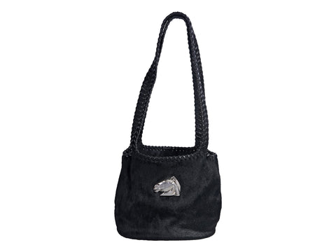 Black Keiselstein Leather and Pony Hair-Embellished Shoulder Bag