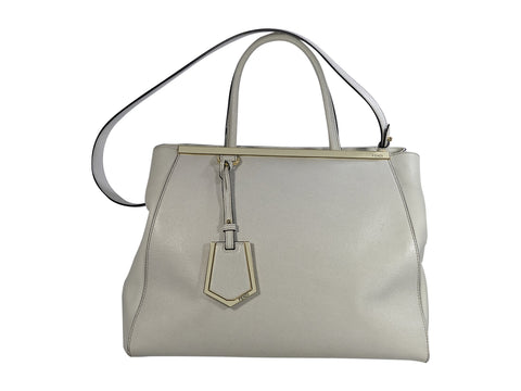 Light Beige Fendi Leather 2Jours Tote Bag