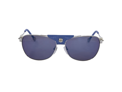 Blue And Silver Shamballa Leather-Trimmed Aviator Sunglasses