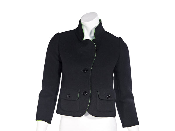Black Vintage Christian Dior Haute Couture FW 1972 Wool Jacket