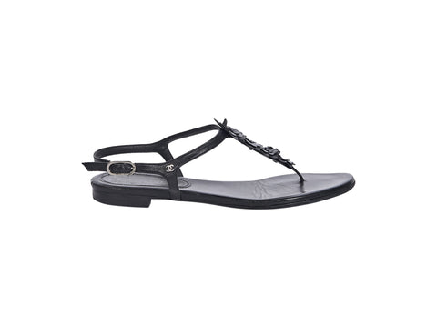Black Chanel Leather Thong Sandals