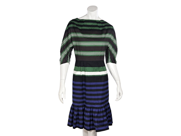 Multicolor Prada Striped Stretch-Cotton Dress